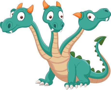 Dragon cartoon 3 heads
